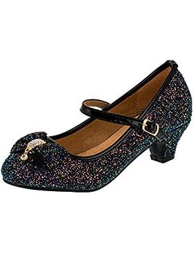 Festliche Mädchen Glitzer Schuhe Pumps Innen echtes Leder