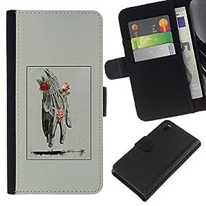 KingStore / Custodia in pelle Protettiva Flip Case Cover / Sony Xperia Z3 D6603 / Mano Uomo Primavera Deep Rose Significato