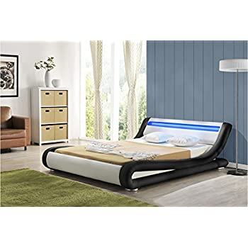 Dream Warehouse Madrid Black white LED (DOUBLE) Bed Frame: Amazon.co ...