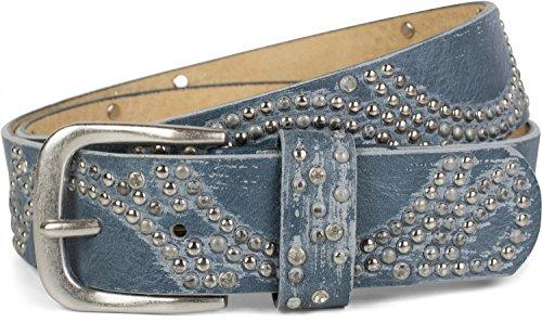 styleBREAKER Vintage Nietengürtel mit glitzerndem Strass und Nieten in runder Anordnung, Damen 03010066, Farbe:Jeansblau;Größe:85cm