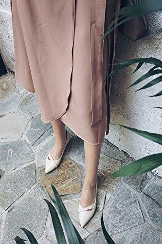 La Vogue Escarpin Talon Femme Chaussure Talon Haut Aiguille PU Cuir Cheville Soirée Travail Noir