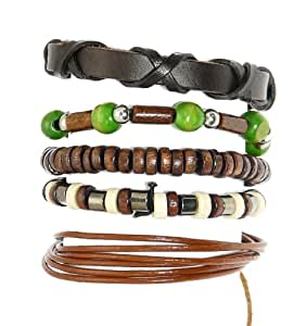 Set Of 5 Wood Bead / Cord & Leather Surf Surfer Style Bracelets Wristbands - (ONE BRACELET HAS A MAX WRIST SIZE OF 17 cm) - 217