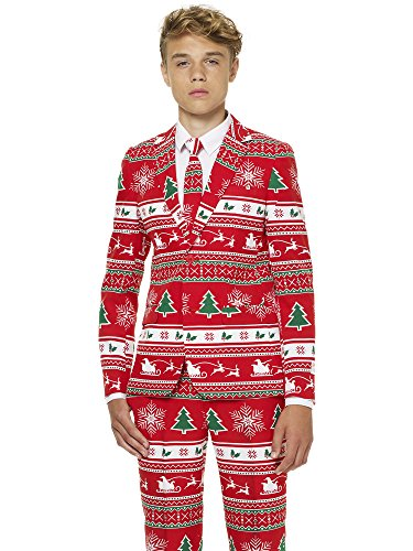 Opposuits Winter Wonderland Suit for Boys Coming with Pants, Jacket and Tie (Sweater Holiday Red)