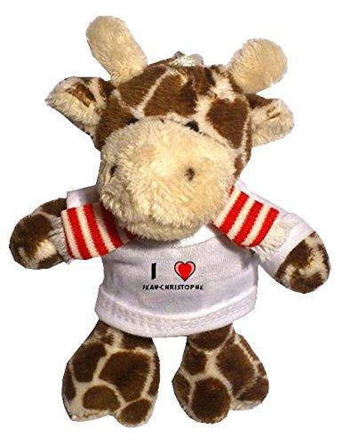 Peluche girafe porte-clé avec J'aime Jean-Christophe (Noms/Prénoms)