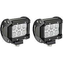 Luce LED Luce bar, Alaman [Confezione da 2] 18W Cree LED Flood Cialde LED luci di nebbia luci di lavoro per Fuoristrada, camion, auto, ATV, SUV, Jeep
