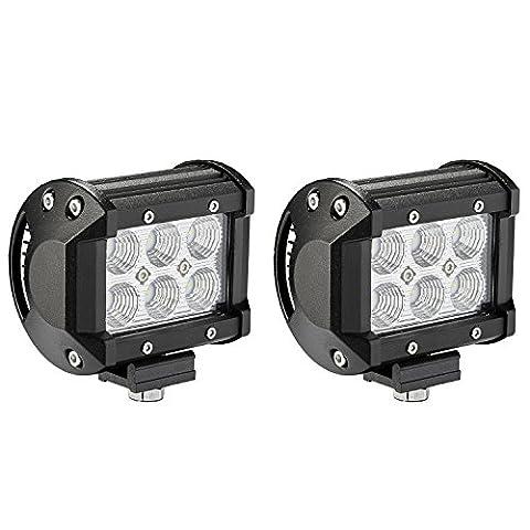 Barres d'éclairage LED, lumière alaman [Lot de 2] 18W CREE travail Flood LED gousses LED lumières de conduite feux anti-brouillard pour voiture, camion, tout-terrain, VTT, SUV, Jeep