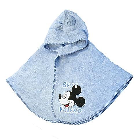 Baby- und Kinder- BADEMANTEL mit Minnie (rosa) oder Mickey (blau) Mouse Motiv, Kapuzen-BADETUCH mit Kapuze und Öhrchen, Baby-Handtuch aus BAUMWOLLE, Frottee-Poncho SUPER WEICH Color Blau