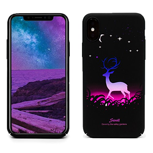 ProtectPax Iphone X TPU Monlight Case Cover IPhone Hülle - Lila/Hirsch leuchtet im Dunkeln Schutzhülle IPhone 10 Handyhülle mti Stil Apple Bumber
