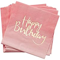 Pick and Mix - Gold Foiled Pink Ombre Happy Birthday Paper Napkins Papierserviette