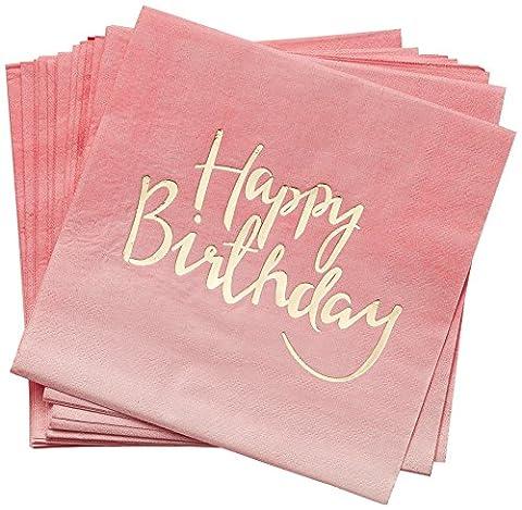 Serviette Papier Rose - 20 Serviettes Happy Birthday Rose et