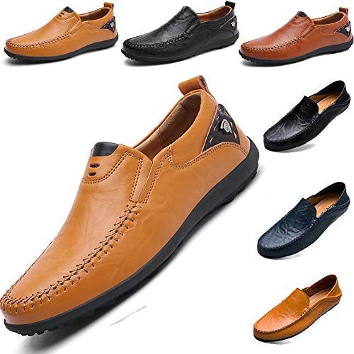 LSGEGO Herren Mokkasins Slip on Casual Männer Loafers Frühling und Herbst Herren Mokassins Schuhe aus echtem Leder Herren (43, Gelb-11) -