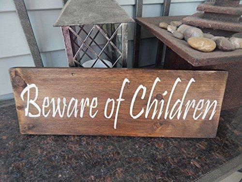 C-US-lmf379581 Vorsicht der Kinder Holzschild Holz Innen Außen Dekor Lustige Kinder Schild