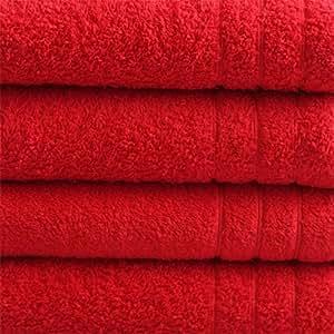 "10 tlg. Handtuchset ""Selmin"" 2x Badetücher 100x150 cm, 2x Duschtücher 70x140 cm, 2x Handtücher 50x100 cm, 4x Gästetücher 30x50 cm in Rot, 100% Baumwolle 600 g/m²"