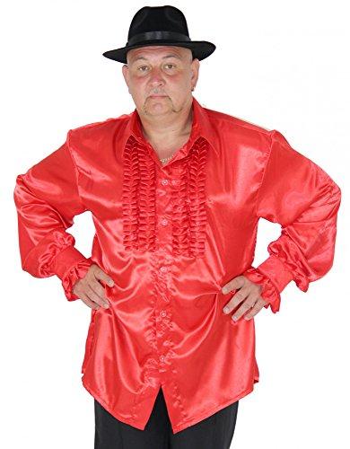 Foxxeo 40196 | Rüschenhemd rot für Herren rotes Hippie Hemd 70er 80er Kostüm Retro Gr. S - XXL, Größe:L