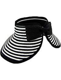 Meta-U Foldable Roll-up Wide Braid Brim Sun Visor Hat With Stripe For Adult