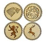Posavasos de madera inspirado en Juego de Tronos–juego de 4,casa principal...