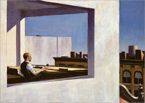Reproduction sur toile 70 x 50 cm: Office in a small city de Edward Hopper - Reproduction prête à accrocher, toile sur châssis, image sur toile véritable prête à accrocher, reproduction sur toile...