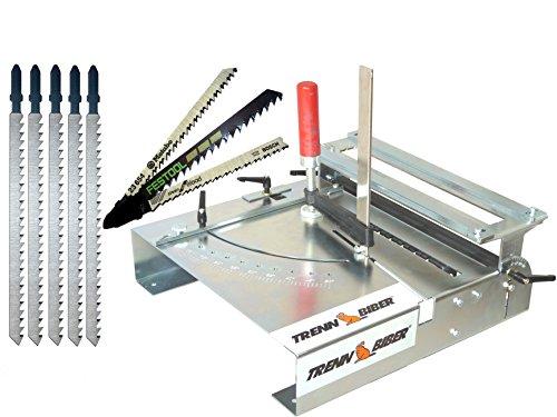 Stichsägetisch Trenn-Biber 012L-3 + Sägeblätter von Metabo Bosch Festool +5 lange T-Schaft Stichsägeblätter für Stichsägen - Sägetisch, zum Laminat, Parkett schneiden