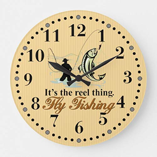 Simpson Rebecca Fly Fishing Reel Thing Decorative Wall Clock for Women Men Teen Girls Boys Silent Wood Clock 12 Inches