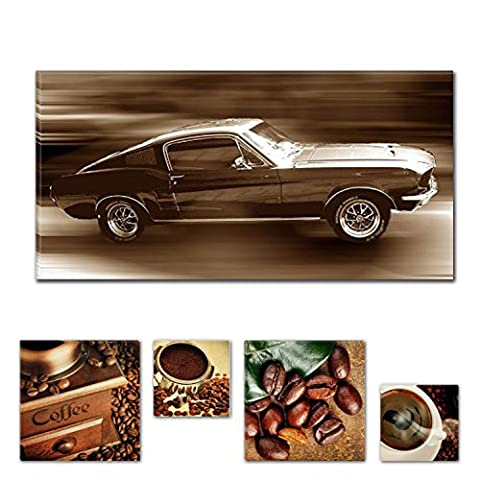 Lumière Eco Bundle immaculée Ford Mustang sur toile 60x 119,9cm pour décoration intérieure et Lovely de cuisine Coffee Collage Lot de 4moderne encadrés