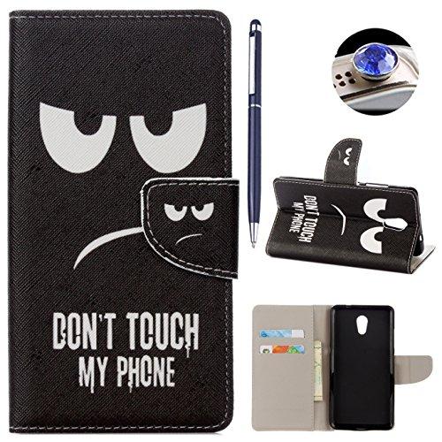 Lenovo P2 hülle Tasche,AyiHuan Folio PU Leder Lenovo P2 Handyhülle Wallet Case Flip Cover mit Magnetverschluss, Kartenfach und Standfunktion Schutzhülle für Lenovo P2 5.5 Zoll,Expression bösen Blick