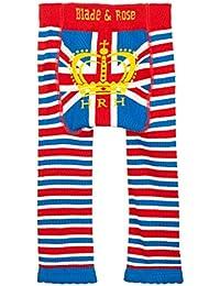 Hoja y rosa bebé Niños de Leggings. La Reina Royal leggings. azul