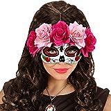 NET TOYS Máscara Sugar Skull Careta La Catrina con Rosas Rosa y Rojo Mascarilla Halloween Máscara Mexicana de Muertos Antifaz Día de los Muertos Cubre Rostro de Muertos