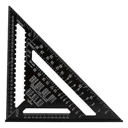Delaman Metrische Anschlagwinkeldreieck Rafter Square, Aluminiumlegierung Dach Dreieck Winkelmesser 90 Grad 7inch 12inch, Schwarz (Größe : 12 Inch)