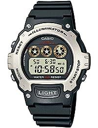 Casio - Unisexe - W-214H-1AVEF - Sports - Quartz Digital - Alarme - Eclairage - Chronographe - Cadran Noir - Noir - Résine