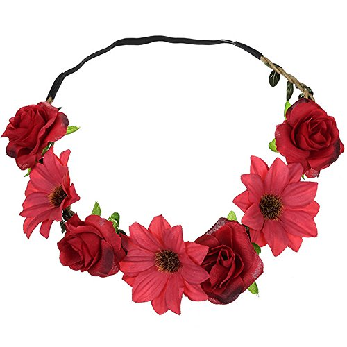 MIRRAY Sonnenblumen Rosen Haarband Dame Fresh Flower Portrait Foto Hochzeit Holiday Wedding Band rot