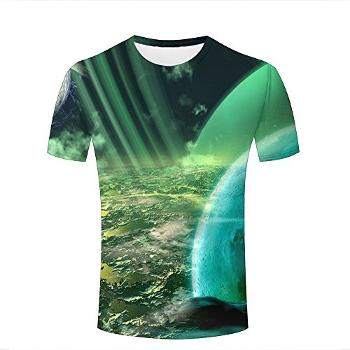 Mens 3D Printed T-Shirt Green Light Shining Surface of The Moon Graphic Short Sleeve Casual Tee Shirts M