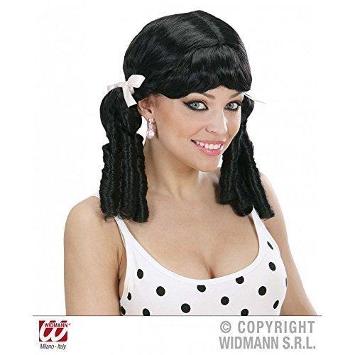 Perücke / Wig Lolita 50 er / 50er / 50'er in schwarz mit Löckchen / Kostüm Zubehör / Oktoberfest (Pin Up Kostüme Für Kinder)