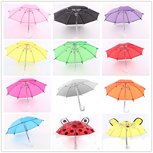 ZITA ELEMENT Puppe Zubehör - 2pcs Outdoor Bunte Regenschirm Passt für American Girl Doll, My Life Puppe, unsere Generation und andere 18 Zoll Puppen WEIHNACHTEN GESCHENK-Verschiedene Zufälliger Stil
