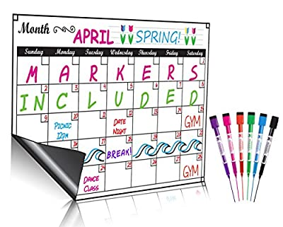 Monthly Magnetic Dry Erase Calendar Set / Large White Board Planner & Grocery List Organiser For Kitchen Refrigerator / Best For Smart Planners by Mommy Marvel