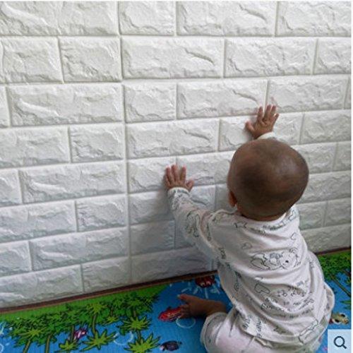 Preisvergleich Produktbild 10 Stück 3D Brick Pattern Wallpaper Wandaufkleber, YTAT Selbstklebend Brick Muster Tapete, Ziegel Tapete für Schlafzimmer Wohnzimmer moderne tv schlafzimmer wohnzimmer dekor , 60 * 60cm, weiß(10)