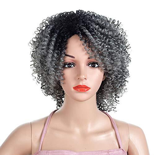 ches Haar Lace Front Perücke Afroamerikaner Seitenteil Kurze Fulls Wellenförmige Bob Perücken für Frauen Kostüm,RI-17.3inch ()