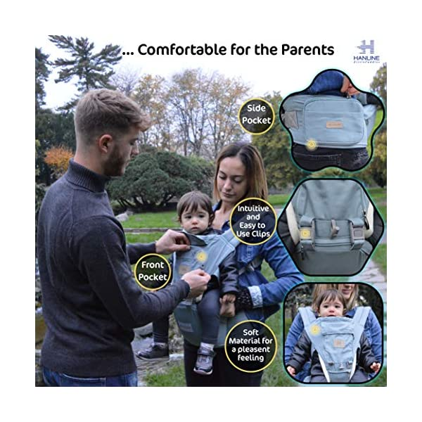 HANLINE LITTLECUDDLES 3-in-1 Ergonomic Baby Carrier Backpack [4 Colours: Turquoise-Blue-Grey] - High Quality/Breathable/Easily Adjustable Fabric - for 0-3 Years Navy Blue (Turquoise) Hanline LittleCuddles 👶 WE ONLY USE HIGH QUALITY MATERIALS: Hanline LittleCuddles is committed to selecting high quality fabrics to make the use of our baby bags more comfortable and safe. The light cotton combined with the soft padded material which is pleasant to the touch increase the comfort of the newborn and parents. On summer days, you can open the front zip which facilitates the passage of air inside the fabric, thanks to the soft breathable mesh fabric. 📃 CERTIFIED AND TESTED SAFETY: The Hanline baby carrier features a soft HIP seat which makes your baby's position ergonomic and safety. In addition, there are various soft fabric parts that eliminate pressure on the baby's body and the wearer. 🔝 3 PRODUCTS IN 1: The ergonomic 3 in 1 baby carrier can be worn in different positions that best adapt to the different stages of growing baby. 3