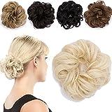 Haargummi Haarteil Dutt Synthetik Haare für Haarknoten Gummiband Hochsteckfrisuren Haarband Blond
