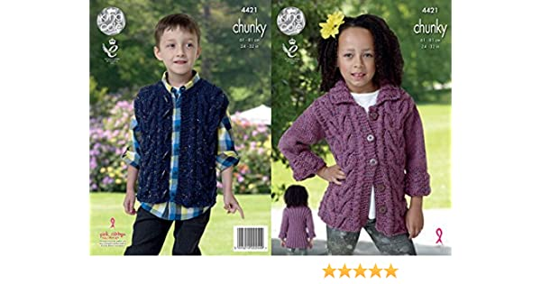 Patterns King Cole Kids Knitting Pattern Cable Detail Jacket & Gilet Chunky Tweed 4421