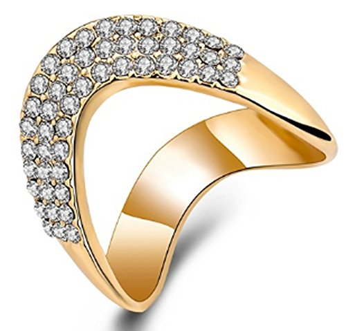 SaySure - 18k Gold Plated Party Wedding Ring (SIZE : 7)