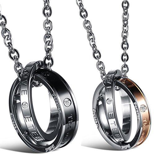 Oidea 1 Paar(2PCS) Freundschaftsketten mit Anhänger, Krone Ring Edelstahl Partner-Anhänger mit 45cm und 55cm Kette, Halskette Halsband für Damen Herren (Edelstahl Eternal Love)