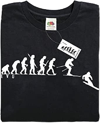 Mans Evolution T-Shirt® EVO Mens Ape to Skiing Ski brand new original gift present (Small)