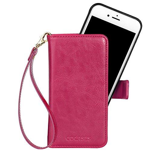 COCASES Kompatibel mit iPhone 8/7 Hülle, 2in1 Geldbörse Style abnehmbare Ledertasche mit Handschlaufe,Magnetverschluss,Kartenfach (Rosa Rot)