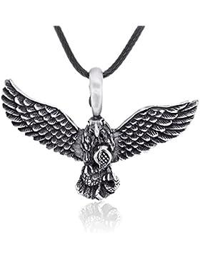 Llords Schmuck | Adler Anhänger Halskette + Versilberter Verschluss, feinster Zinn Metall Modeschmuck