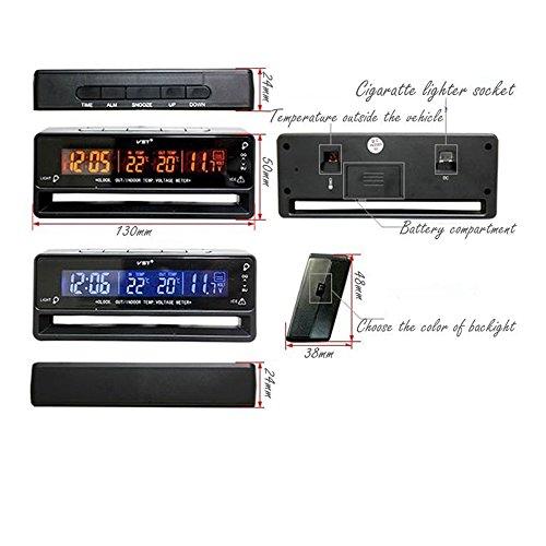 Gazechimp Digital LCD Auto Uhr Alarm Thermometer Temperatur Spannung Anzeige , aus Kunststoff , 130x38x55mm