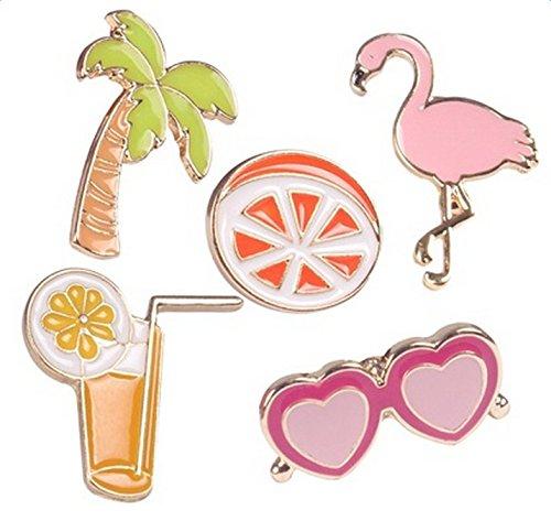 Lumanuby Sommer Urlaub Broach Sets von Flamingo Brille Zitrone Kokosnussbaum und Getränke Form Bunt Anstecker Pins für Damen, Brosche Serie Size As Shown
