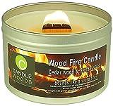 Candle Woods® grote houtvuur geur kaars Cedar wood & Sandalwood in blik met vensterdeksel en woodwick. Ceder en Sandelhout geur.