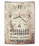 LAUTLOSE Designer Wanduhr mit Spruch Hinfallen aufstehen Krone richten weitergehen Vintage beige Deko Schild Bild 41 x 28cm