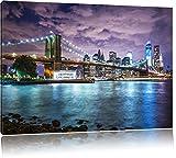 Skyline New York Bild auf Leinwand, XXL riesige Bilder fertig gerahmt mit Keilrahmen, Kunstdruck auf Wandbild mit Rahmen, guenstiger als Gemaelde oder Bild, kein Poster oder Plakat, Format:60x40 cm