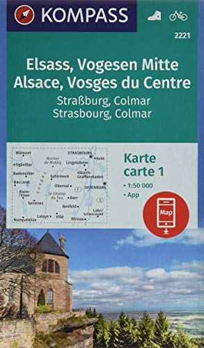 KOMPASS Wanderkarte Elsass, Vogesen Mitte, Alsace, Vosges du Centre: 2 Wanderkarten 1:50000 im Set inklusive Karte zur offline Verwendung in der ... (KOMPASS-Wanderkarten, Band 2221)